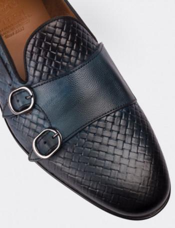 Hakiki Deri Mavi Loafer Erkek Ayakkabı