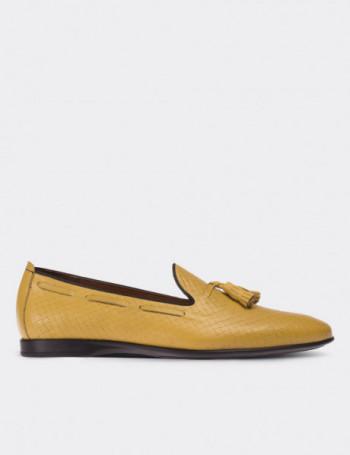 Hakiki Deri Sarı Loafer Erkek Ayakkabı
