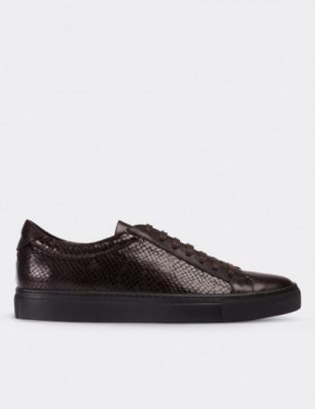 Hakiki Deri Kahverengi Sneaker Erkek Ayakkabı