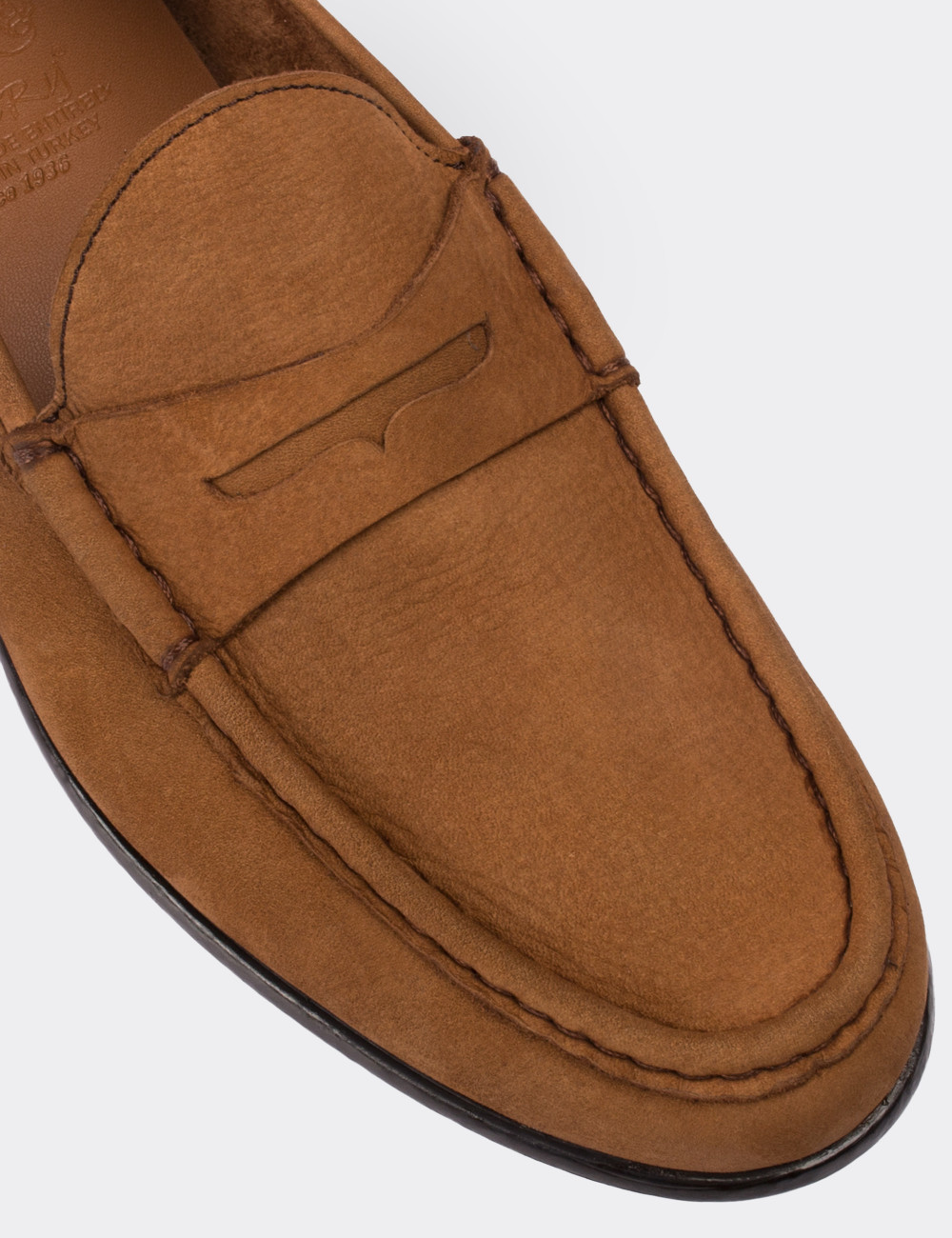 Hakiki Nubuk Taba Rengi Loafer Erkek Ayakkabı - 01648MTBAC01