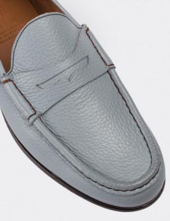 Hakiki Floter Deri Mavi Loafer Erkek Ayakkabı