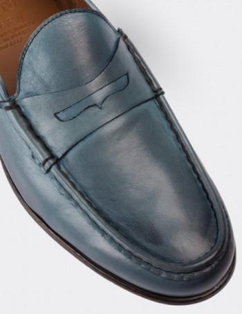 Hakiki Deri Turkuaz Rengi Loafer Erkek Ayakkabı