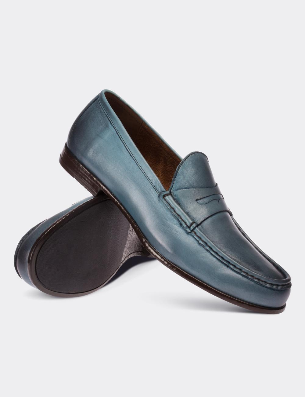 Hakiki Deri Turkuaz Rengi Loafer Erkek Ayakkabı - 01648MTRKC01