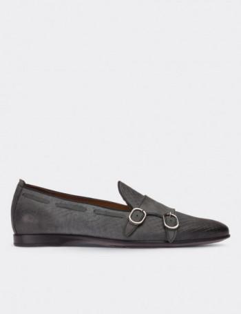 Hakiki Nubuk Gri Loafer Erkek Ayakkabı