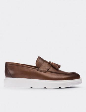Hakiki Floter Deri Taba Rengi Loafer Erkek Ayakkabı