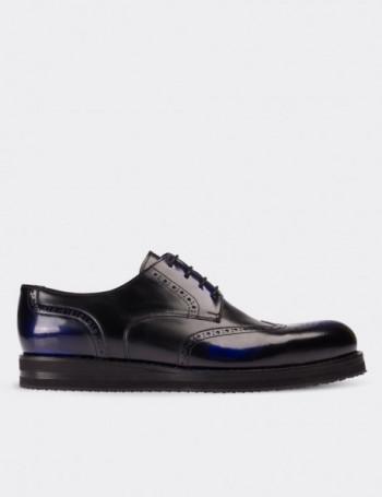 Hakiki Deri Lacivert Finisajlı Oxford Erkek Ayakkabı