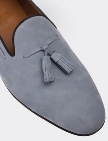 Hakiki Nubuk Mavi Loafer Erkek Ayakkabı