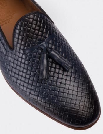 Hakiki Deri Lacivert Loafer Erkek Ayakkabı