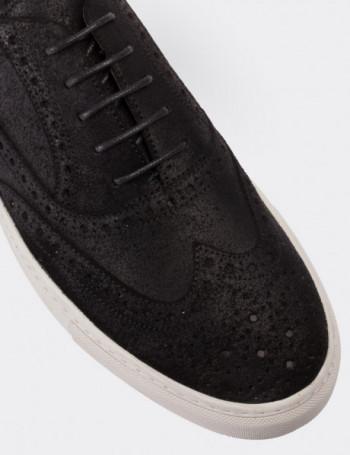 Hakiki Nubuk Siyah Sneaker Erkek Ayakkabı