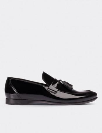 Siyah Rugan Püsküllü Loafer Erkek