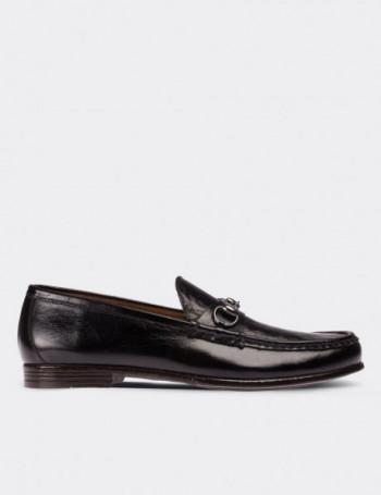 Hakiki Antik Deri Siyah Loafer Erkek Ayakkabı