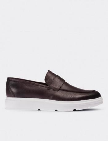 Hakiki Floter Deri Bordo Loafer Erkek Ayakkabı