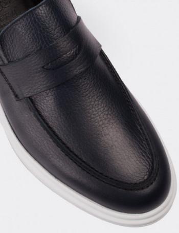 Hakiki Floter Deri Lacivert Loafer Erkek Ayakkabı