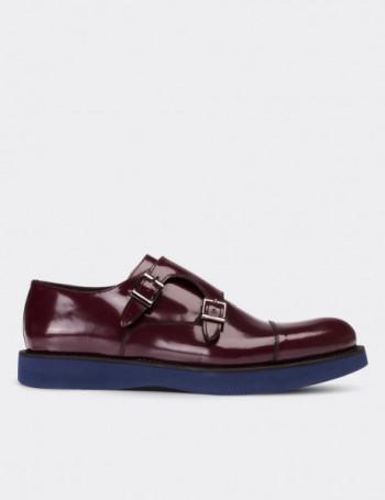 Hakiki Deri Bordo Çift Tokalı Monk Erkek Ayakkabı