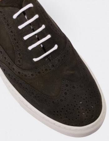 Hakiki Nubuk Yeşil Sneaker Erkek Ayakkabı