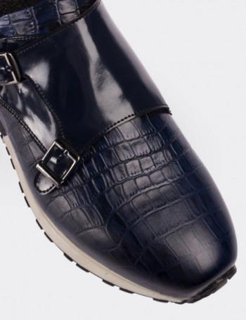 Hakiki Deri Kroko Desen Lacivert Monk Spor Ayakkabı