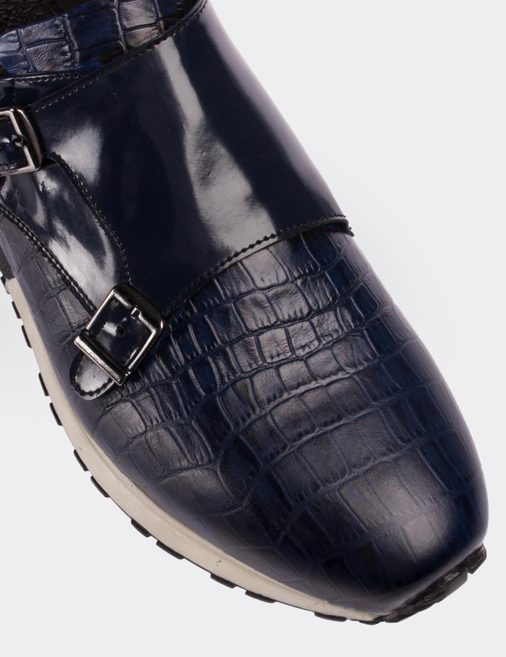 Hakiki Deri Kroko Desen Lacivert Monk Spor Ayakkabı - 01586MLCVT01