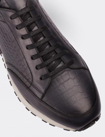 Hakiki Deri Gri Spor Erkek Ayakkabı