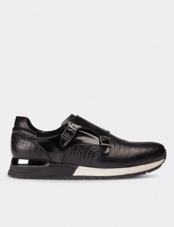 Hakiki Deri Kroko Desen Siyah Monk Spor Ayakkabı