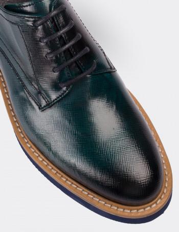 Hakiki Rugan Yeşil Günlük Kadın Ayakkabı