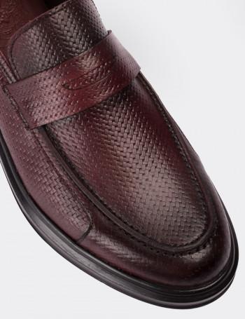 Hakiki Deri Bordo Loafer Comfort Erkek Ayakkabı