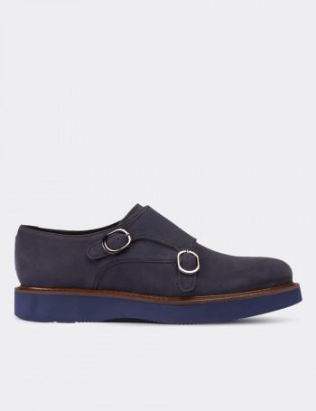 Hakiki Süet Lacivert Çift Tokalı Kadın Ayakkabı