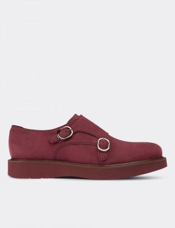 Hakiki Süet Pembe Çift Tokalı Kadın Ayakkabı