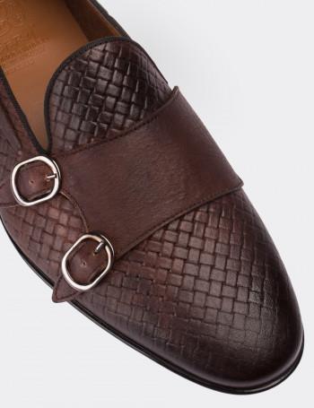 Hakiki Deri Kahverengi Çift Tokalı Loafer Erkek Ayakkabı