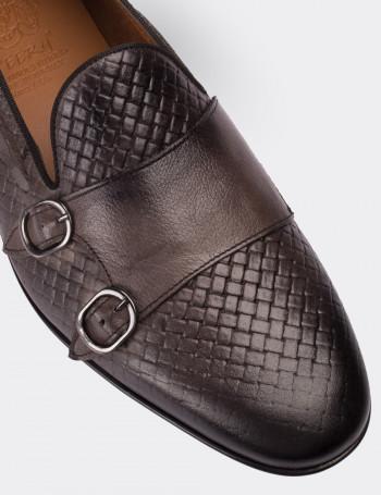 Hakiki Deri Vizon Rengi Çift Tokalı Loafer Erkek Ayakkabı