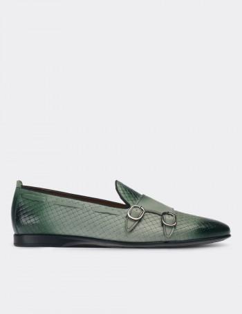 Hakiki Deri Yeşil Çift Tokalı Loafer Erkek Ayakkabı