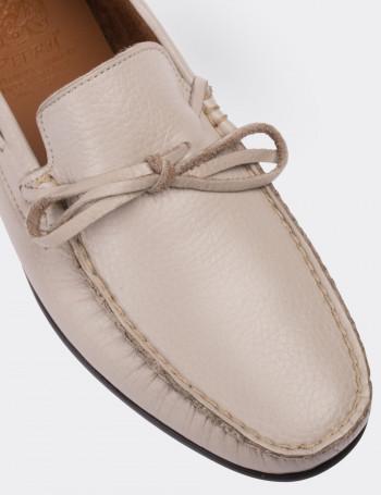 Hakiki Deri Bej Loafer Erkek Ayakkabı
