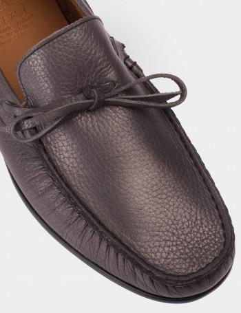 Hakiki Floter Deri Gri Loafer Erkek Ayakkabı