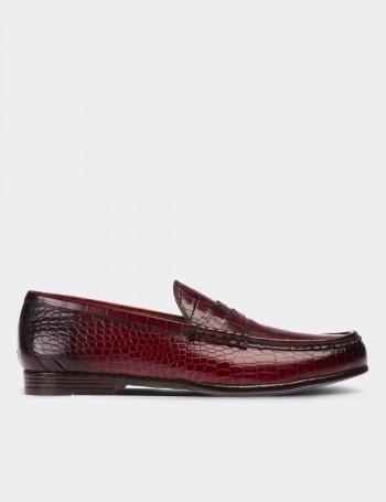 Hakiki Deri Özel Üretim Kroko Bordo Erkek Loafer