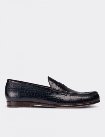 Hakiki Deri Kroko Lacivert Özel Üretim Erkek Loafer