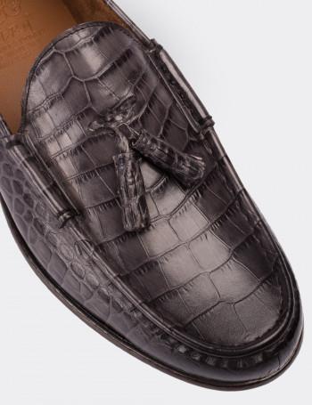 Hakiki Deri Kroko Gri Özel Üretim Loafer Erkek