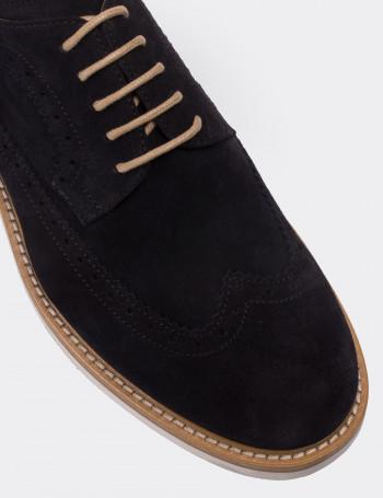 Hakiki Deri Lacivert Süet Erkek Ayakkabı