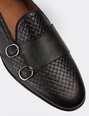 Hakiki Deri Çift Tokalı Yeşil Loafer Erkek Ayakkabı