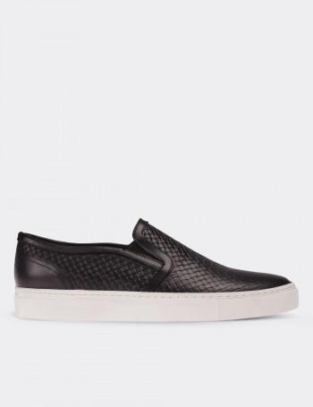 Hakiki Deri Siyah Bağcıksız Erkek Sneaker