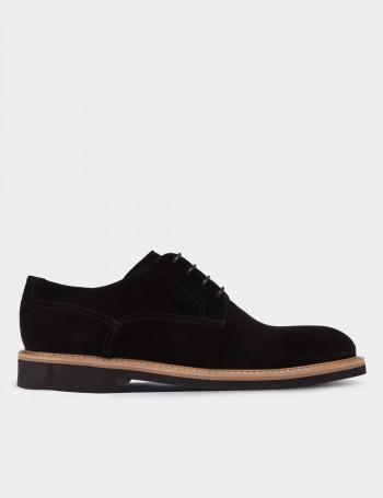 Hakiki Deri Siyah Süet Günlük Erkek Ayakkabı
