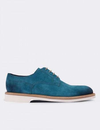 Hakiki Deri Mavi Süet Günlük Erkek Ayakkabı