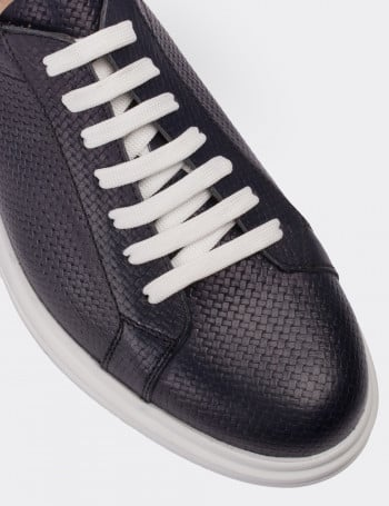 Hakiki Deri Lacivert Comfort Spor Erkek Ayakkabı