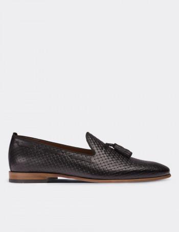 Hakiki Deri Siyah Püsküllü Loafer Erkek Ayakkabı