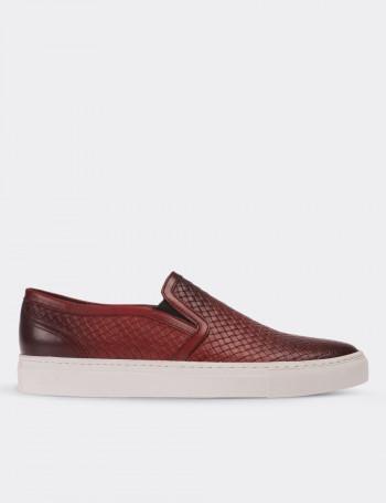 Hakiki Deri Kırmızı Bağcıksız Sneaker Erkek Ayakkabı