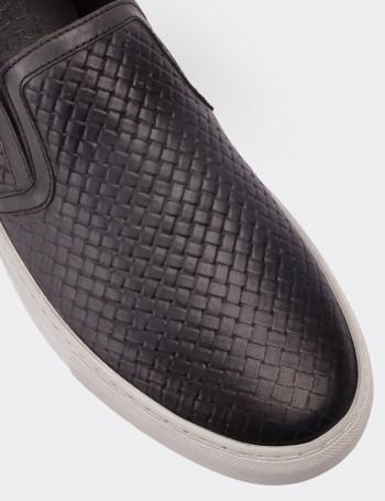 Hakiki Deri Gri Bağcıksız Sneaker Erkek Ayakkabı