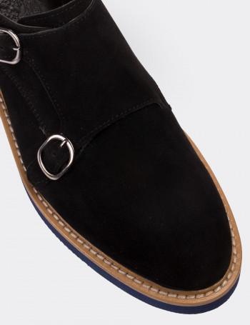 Hakiki Süet Siyah Tokalı Kadın Ayakkabı
