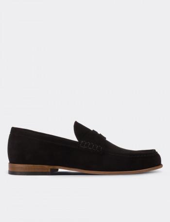 Hakiki Süet Siyah Loafer Erkek Ayakkabı