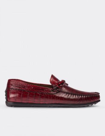 Hakiki Rugan Kroko Bordo Loafer Erkek Ayakkabı