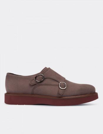 Hakiki Süet Vizon Rengi Çift Tokalı Kadın Ayakkabı