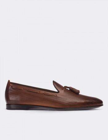 Hakiki Deri Kahverengi Püsküllü Loafer Erkek Ayakkabı