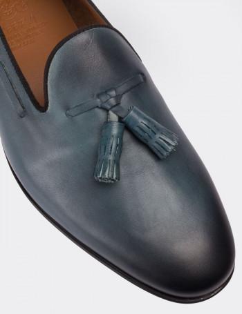 Hakiki Antik Deri Mavi Loafer Erkek Ayakkabı